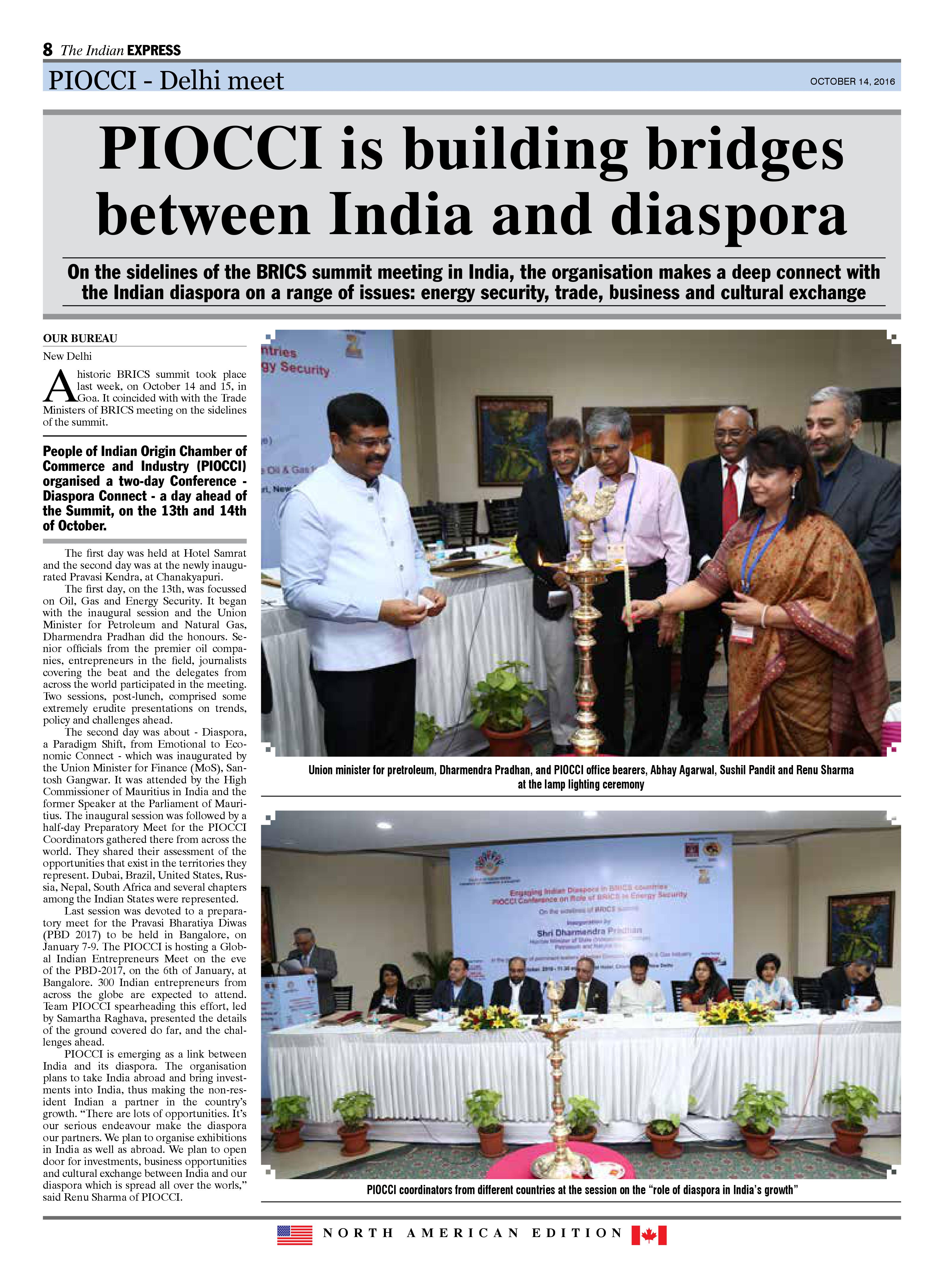 The Indian Express - North American Edition Coverage on PIOCCI Delhi Meet